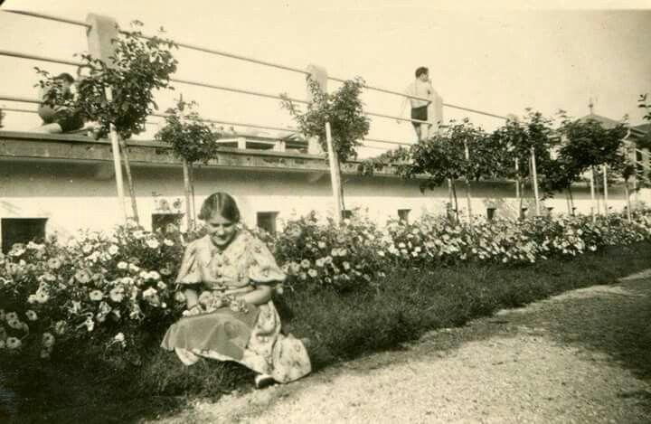 1940-es évek. Virágos kert a strand napozója mögött.