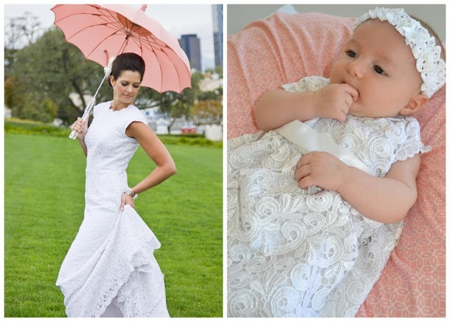 Baby dresses made from wedding gowns