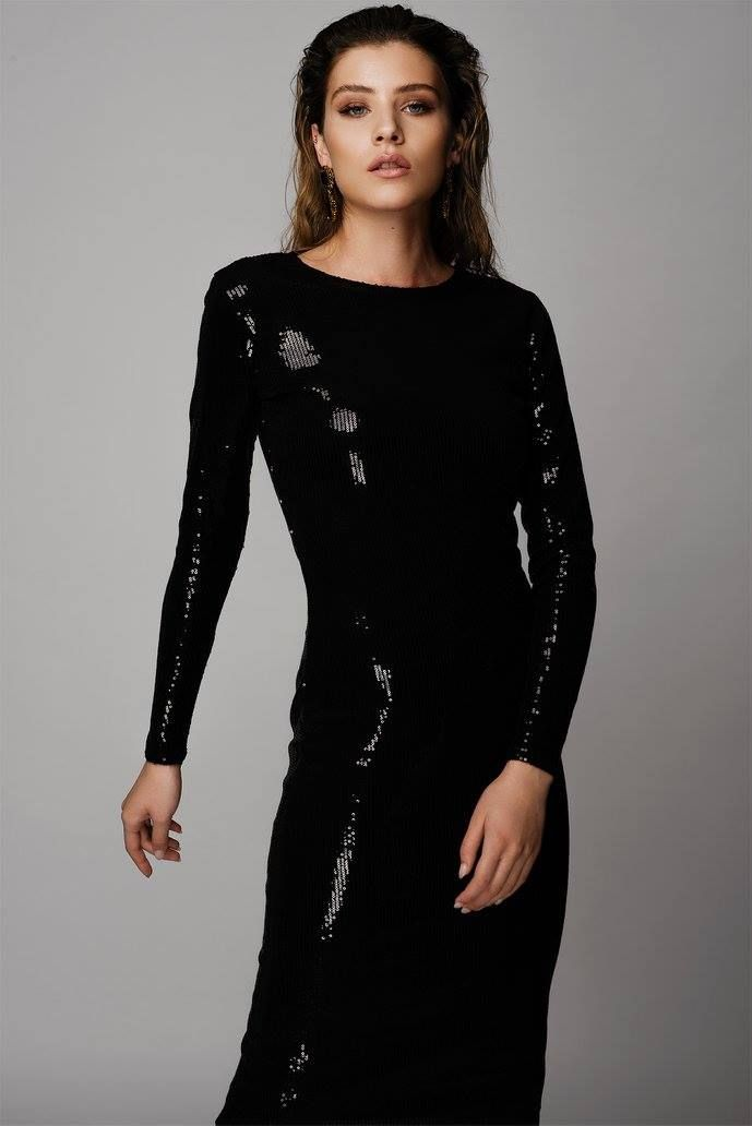 METALLIC BLACK LONG SEQUIN DRESS