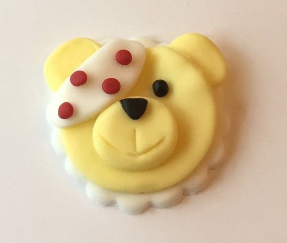 10 x edible icing Pudsey Bear Children in Need cupcake toppers by ACupfulofCake on Etsy £20.00