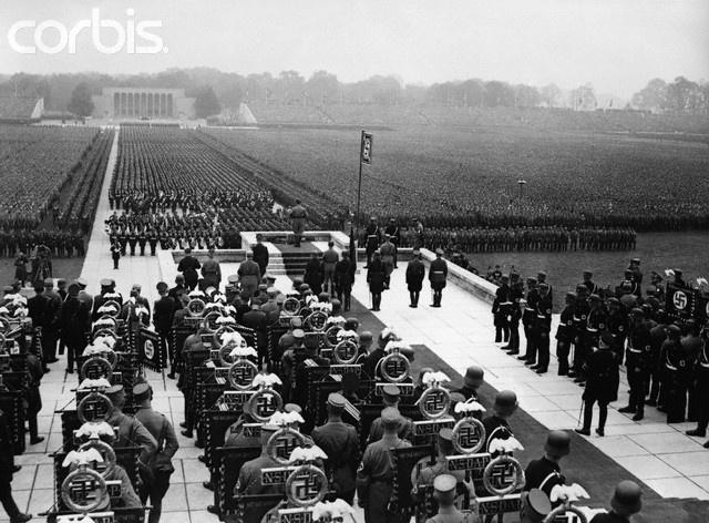 Nuremberg rally. The SA, SS, NSKK, and NSFK, line up before Adolf Hitler in the Luitpoldarena. September 12, 1937