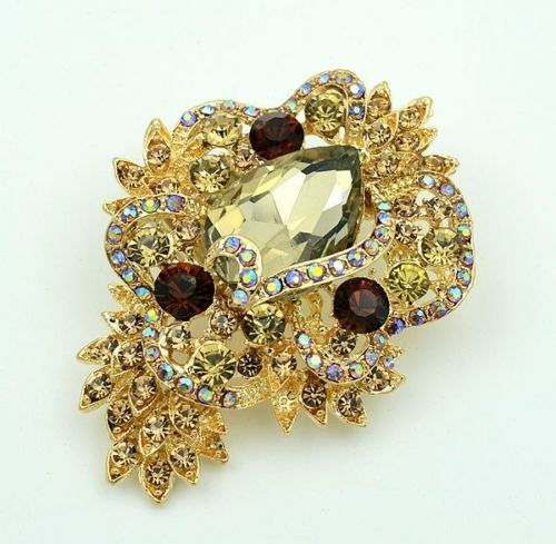 Luxury-Vintage-Style-Golden-Shadow-Wedding-Bouquet-Shiny-Brooch-Pin-BR276