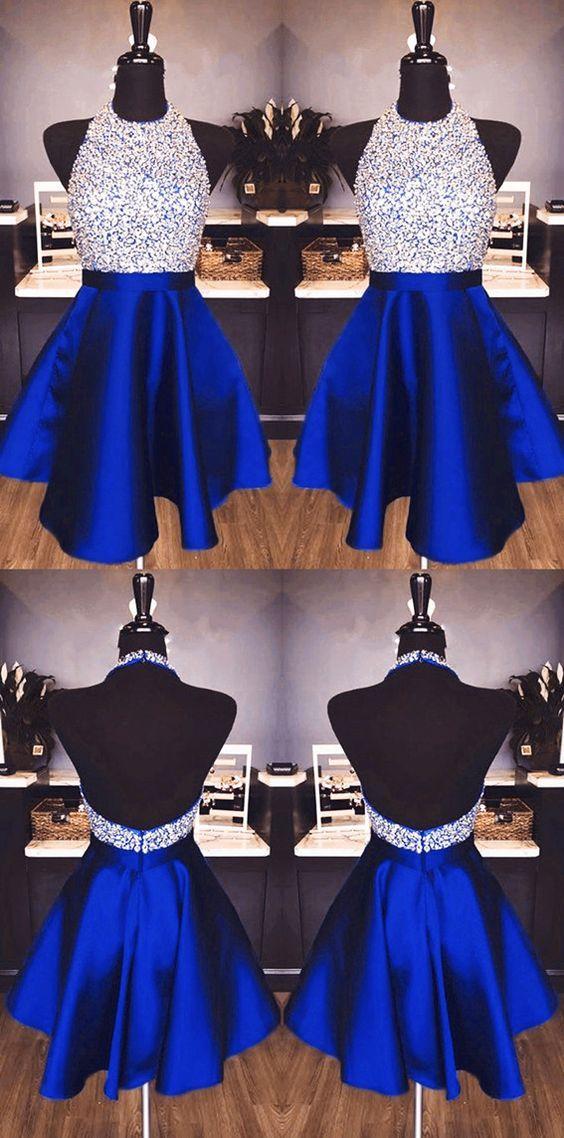 75163be6094 A-line Beaded Halter Satin Prom Dresses Short Open Back Homecoming Dresses  M5232