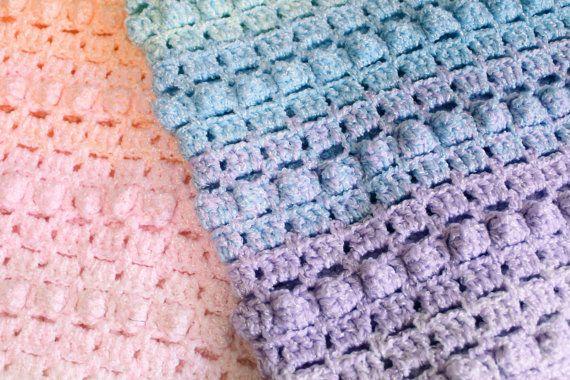 Patrón del arco iris bebé manta palomitas por artisaninthewoods
