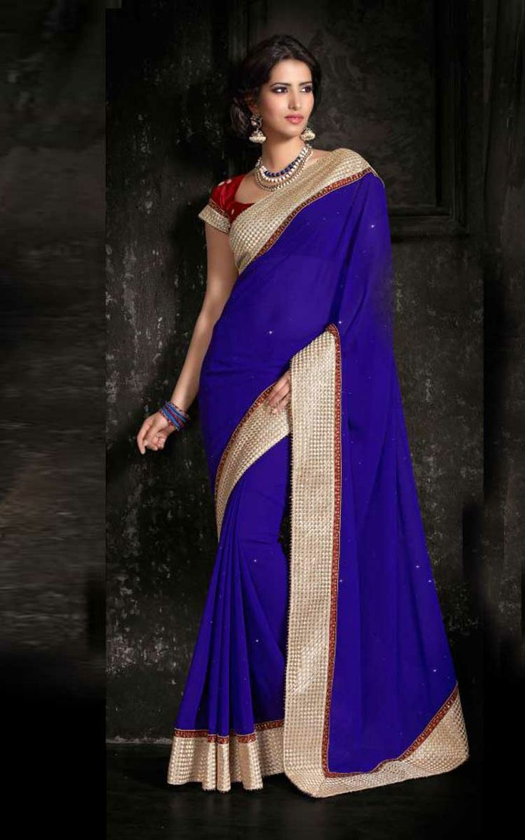 BLUE & RED GEORGETTE LATEST SAREE - SIL 7113