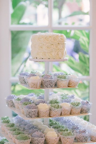 Wedding cupcake tower idea - cupcakes with purple, white and green frosting in pretty cupcake tins {Riverland Studios}