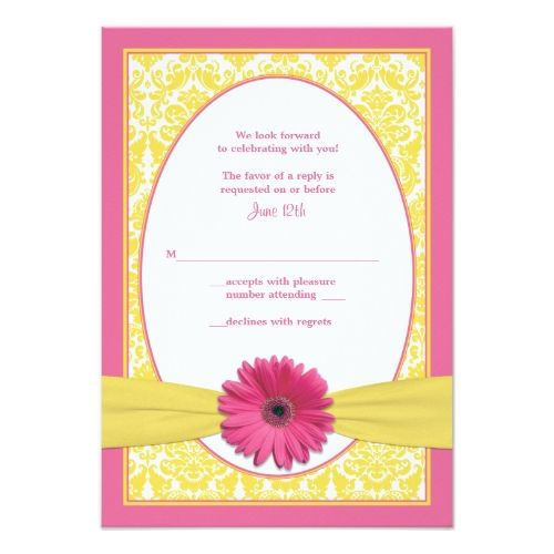 Yellow Wedding RSVP cards Pink Yellow Gerbera Daisy Wedding Reply Card