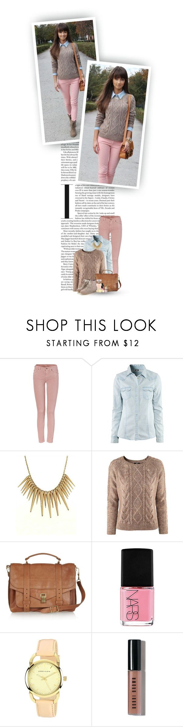"""""""All These Buckets Of Rain, You Can't Forget About It..."""" by hollowpoint-smile ❤ liked on Polyvore featuring 7 For All Mankind, H&M, Proenza Schouler, Chanel, NARS Cosmetics, Anne Klein, Bobbi Brown Cosmetics, philosophy, cable knit sweaters and denim shirts"""