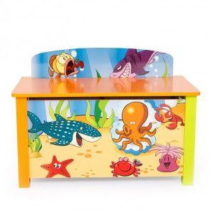 Spielzeugtruhe / Kindersitzbank Motiv Ozean Ansicht geschlossen