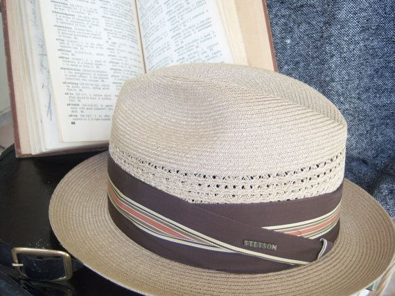 Vintage Stetson Straw Hat 50's hat mens hats by AngelandAnnie, $45.00