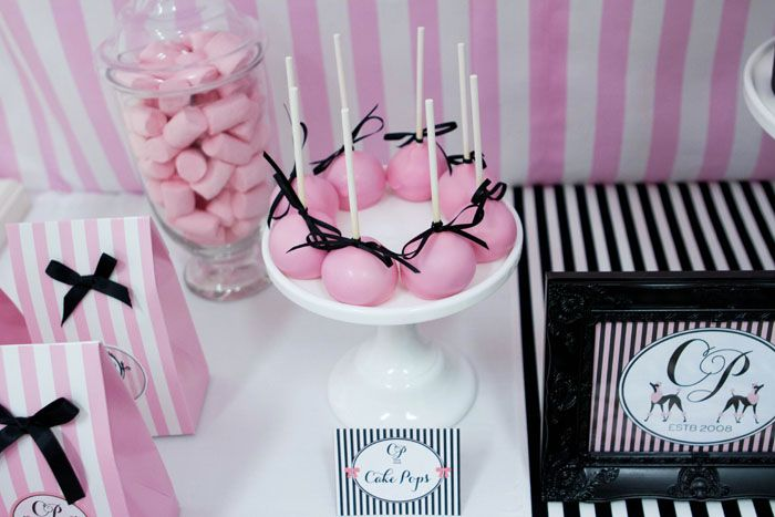 Parisian Party pink black white stripes cake pops dessert table favors
