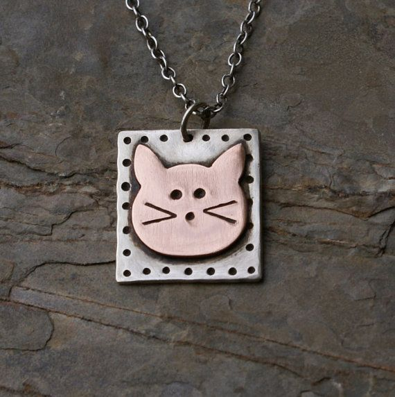 Copper and Sterling Silver Cat Face Pendant Necklace by kimsgemz, $52.00