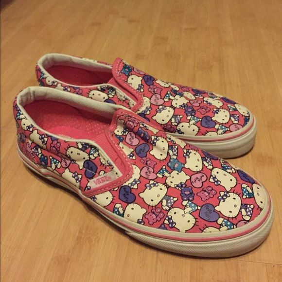 Vans Hello Kitty slip on size 3 excellent cond. HELLO KITTY VANS slip on size 3. Bought it for my daughter but it's tight on her. Used only once. It's in perfect condition like new. Vans Shoes Sneakers