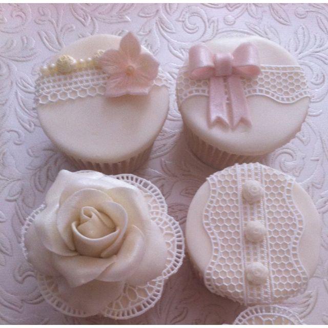Delicate Sugarveil Wedding Cupcakes made in sugarveil class www.cupcakesbychrissie.com