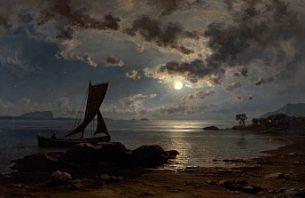 Knud Baade (1808-1879): Nattseilas, 1875
