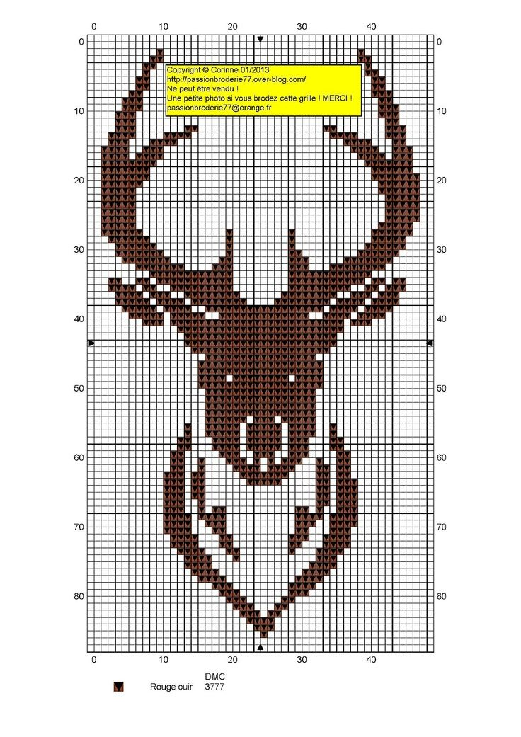 A stag! Site has other free charts, but all in French. knitting pattern grids for deer heads to add into a regular knitting pattern