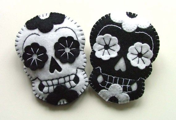 Sugar Skull Jewelry Day of the Dead Felt by TheDollCityRocker, $17.00