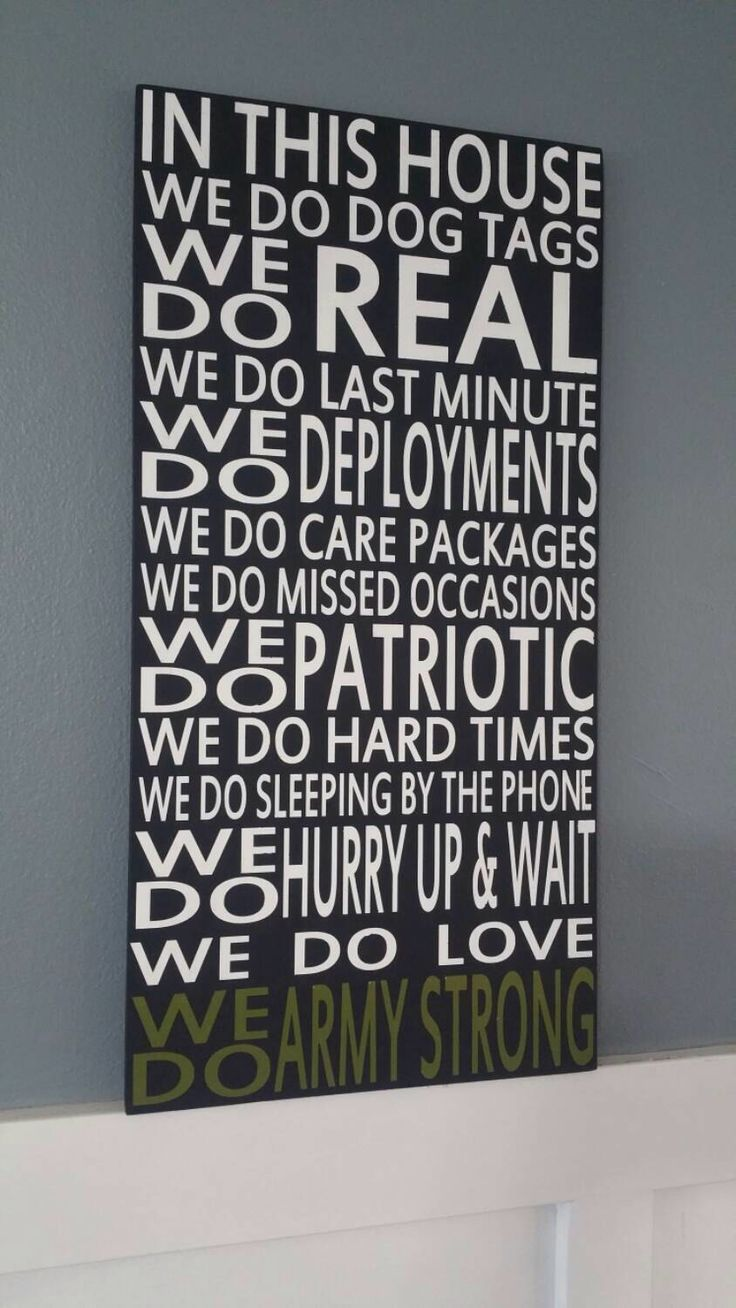 In This House We Do Army Strong Deployments Hand Painted Subway Style Distressed Wood Sign. NO vinyl Deployment sign Home Decor Wall Art by CreatedForYouOn10th on Etsy https://www.etsy.com/listing/221277199/in-this-house-we-do-army-strong