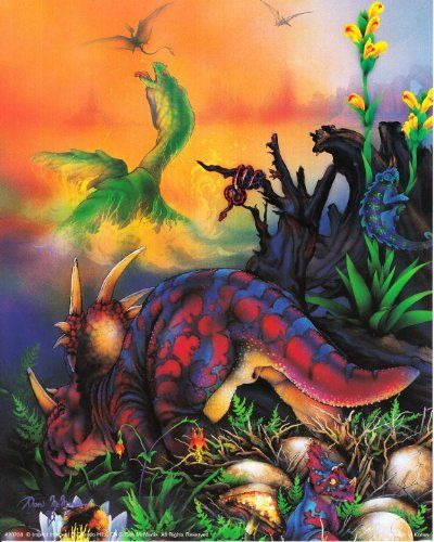 Bring home this Triceretops Dinosaurs art print poster for your kid's room. It would surely add a fun element in your home decor. Your heart will melt every time you look at this poster. We offer durability and perfect color accuracy which keep long lasting beauty of the product.