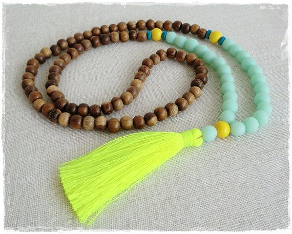 Boho tassel necklace  sea mist and natural wood by Brightnewpenny, $25.00