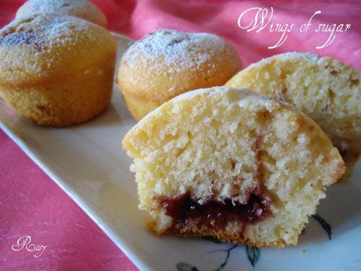 Muffin vaniglia e marmellata, ricetta muffins, vanilla and jam