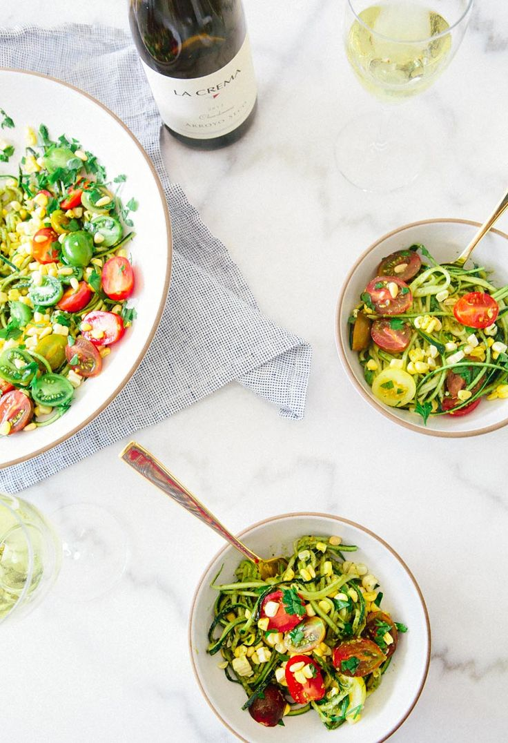 {Zucchini noodles with pesto and summer veges.}