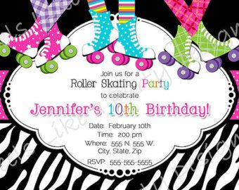 Custom Boy and Girl Roller Skating Party Invite by FeelsLikeAParty