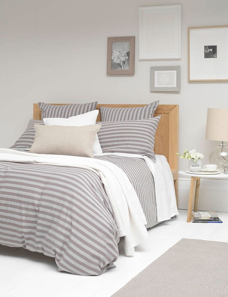 Percale Stripe Grey Cotton Bedding Set