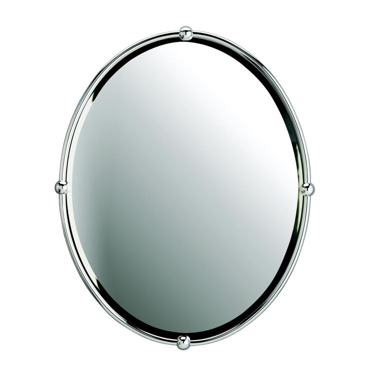 Pic Of Distinguished beveled bathroom oval mirror in Chrome finish