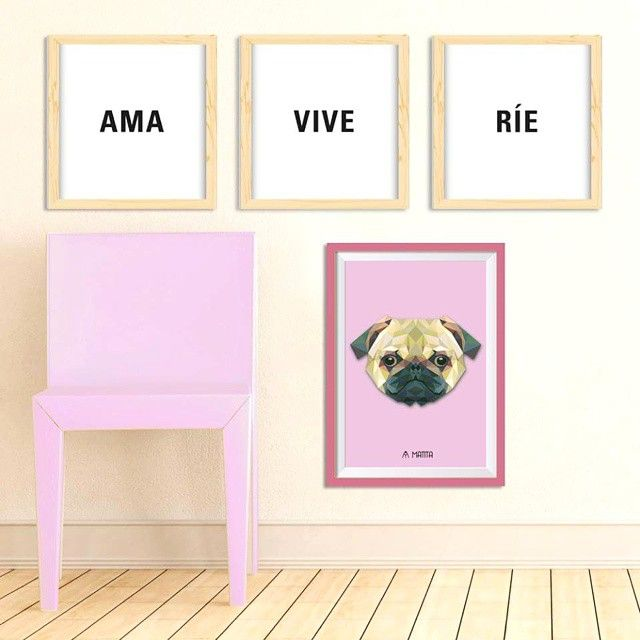 Cuadros decorativos #Matita #Decoracion #Deco #Wall #Art #Interior #Design #Pug #Dog #Ama #Rie #Vive