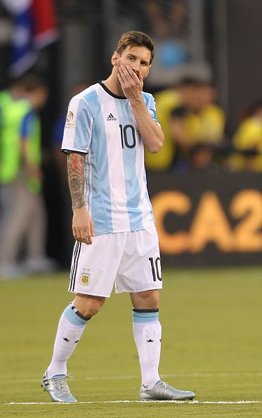 #COPA2016 #COPA100 Lionel Messi of Argentina gestures during the championship match between Argentina and Chile at MetLife Stadium as part of Copa America Centenario US...