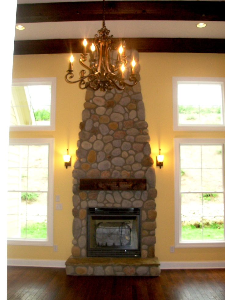 River Stone Mantel By Luxe Homes U0026 Design | Great Room Designs | Pinterest  | River Stones, Mantels And Room
