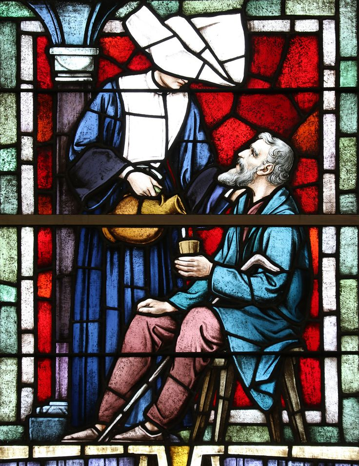 Corporal Works of Mercy: Give Drink to the Thirsty / Obras corporales de Misericordia: Dar de beber al sediento // Stained glass window from the National Shrine of St Elizabeth Ann Seton in Emmitsburg, MA. // Photo: Lawrence OP
