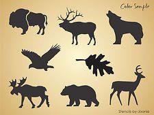 """3"""" Lodge Animal STENCIL Bear Wolf Deer Moose Bison Elk Eagle Rustic Cabin Signs"""