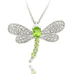 @Overstock - This pendant is is set with oval and round peridots with a diamond accent. This jewelry is crafted of sterling silver with a rhodium plating to prevent tarnishing.http://www.overstock.com/Jewelry-Watches/Sterling-Silver-Peridot-and-Diamond-Accent-Dragonfly-Necklace/5254152/product.html?CID=214117 $18.99