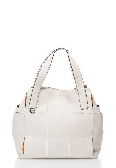 COCCINELLE Geanta alb fildes din piele cu model geometric Mila Femei image_1