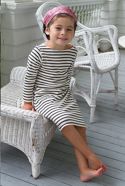 STRIPE T DRESS IN NATURAL/CHARCOAL | Sailor Rose