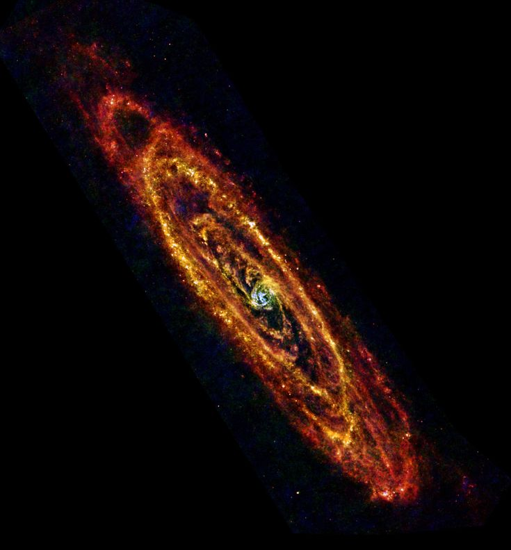 This infrared view from the Herschel Space Observatory explores the Andromeda Galaxy, the closest large spiral galaxy to our own Milky Way. Only 2.5 million light-years distant, the famous island universe is also known to astronomers as M31.