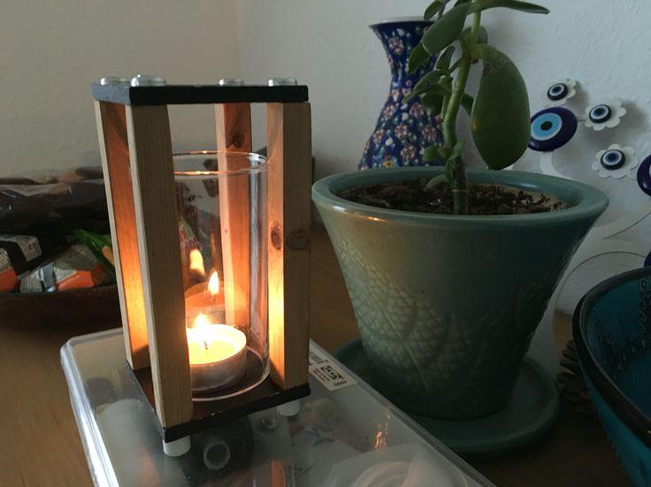 Handmade wooden tea light holder by Hasan Aktas.
