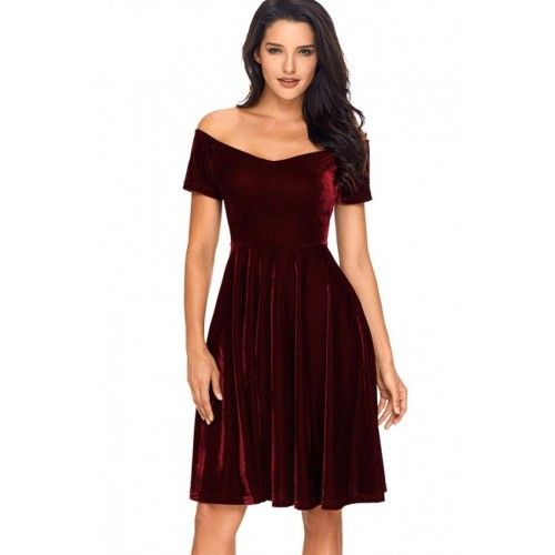 cf11589b6b8 Dark Red Burgundy Off Shoulder Pleated Short Sleeve Velvet A Line Party  Dress