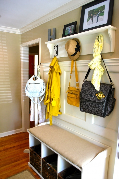 Great way to reuse our coat rack. Re paint and make it more important. Like the panelling