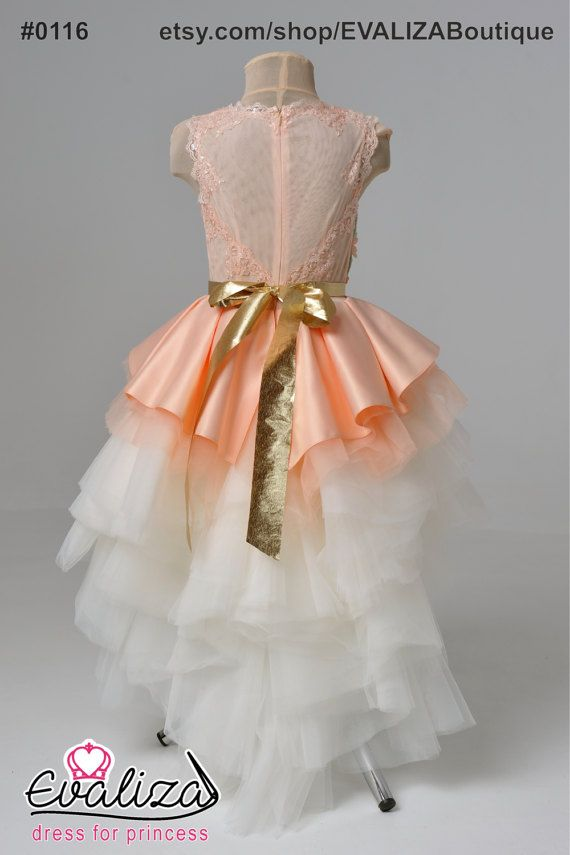 Melocotón flor chica vestido cumpleaños-Dama de