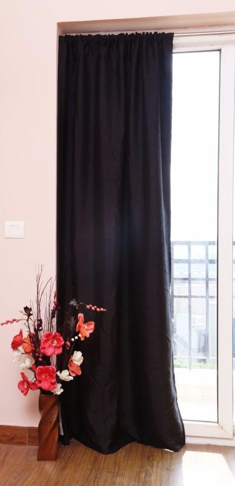 black faux silk curtains 51 inch130 cms wide chose plain