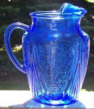 Rare Cobalt Blue Royal Lace Depression Glass 96 oz. Ice Lip Pitcher