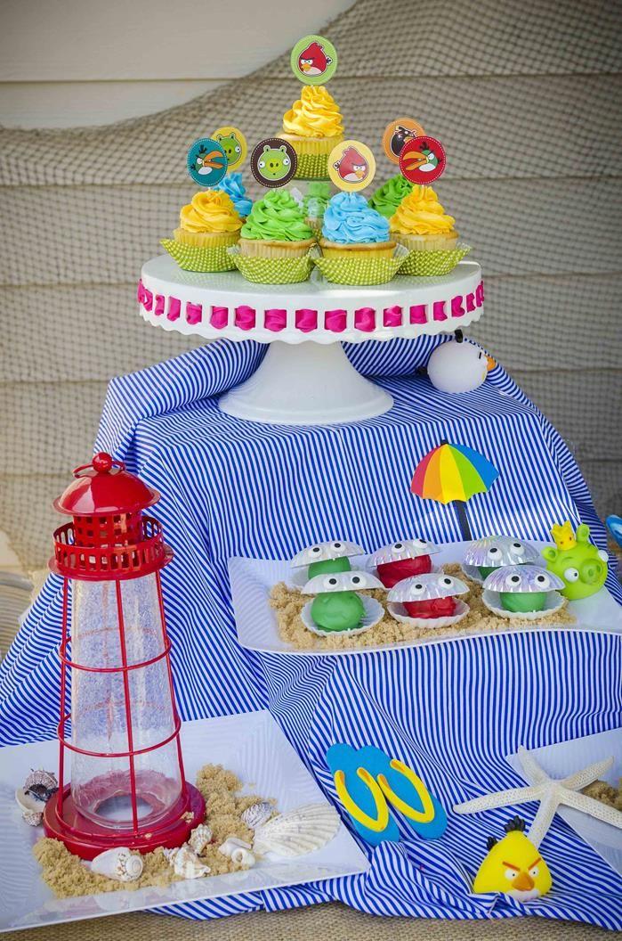 Angry Birds Beach Party Full of Fabulous Ideas via Kara's Party Ideas   KarasPartyIdeas.com #AngryBirdsParty #BeachParty #PartyIdeas #Suppli...