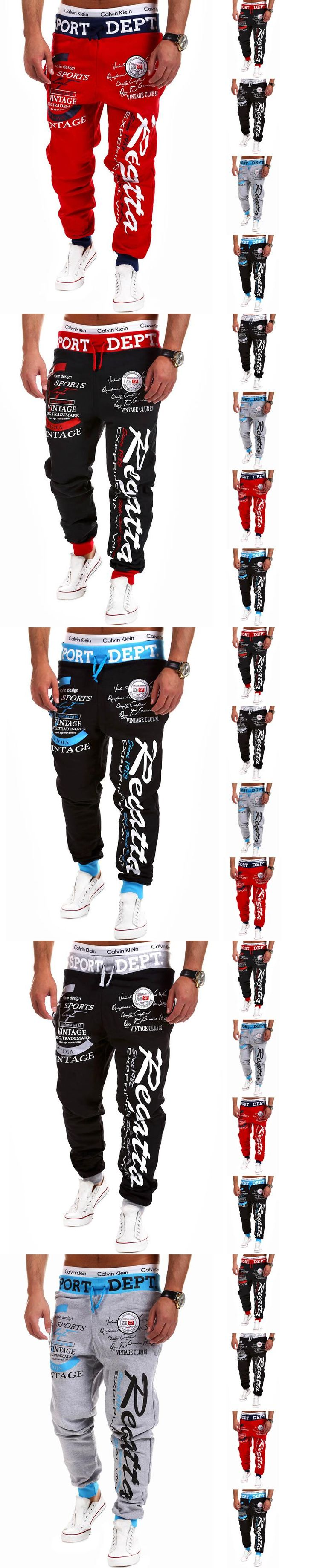 2017 Male Letter Print Harem  Trousers Wear Jogger Drawstring Elastic Waist  Loose Sweatpants Man Punk Pants