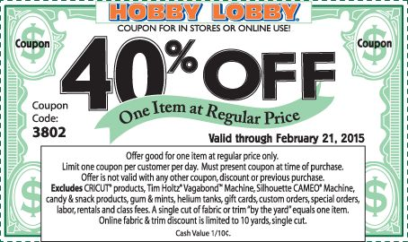 Pinned February 17th: 40% off a single item at Hobby #Lobby, or online via promo code 3802 #coupon via The #Coupons App