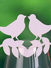 cartes de place et les détenteurs aiment oiseau carte de place pour la carte de verre de vin (ensemble de 12)