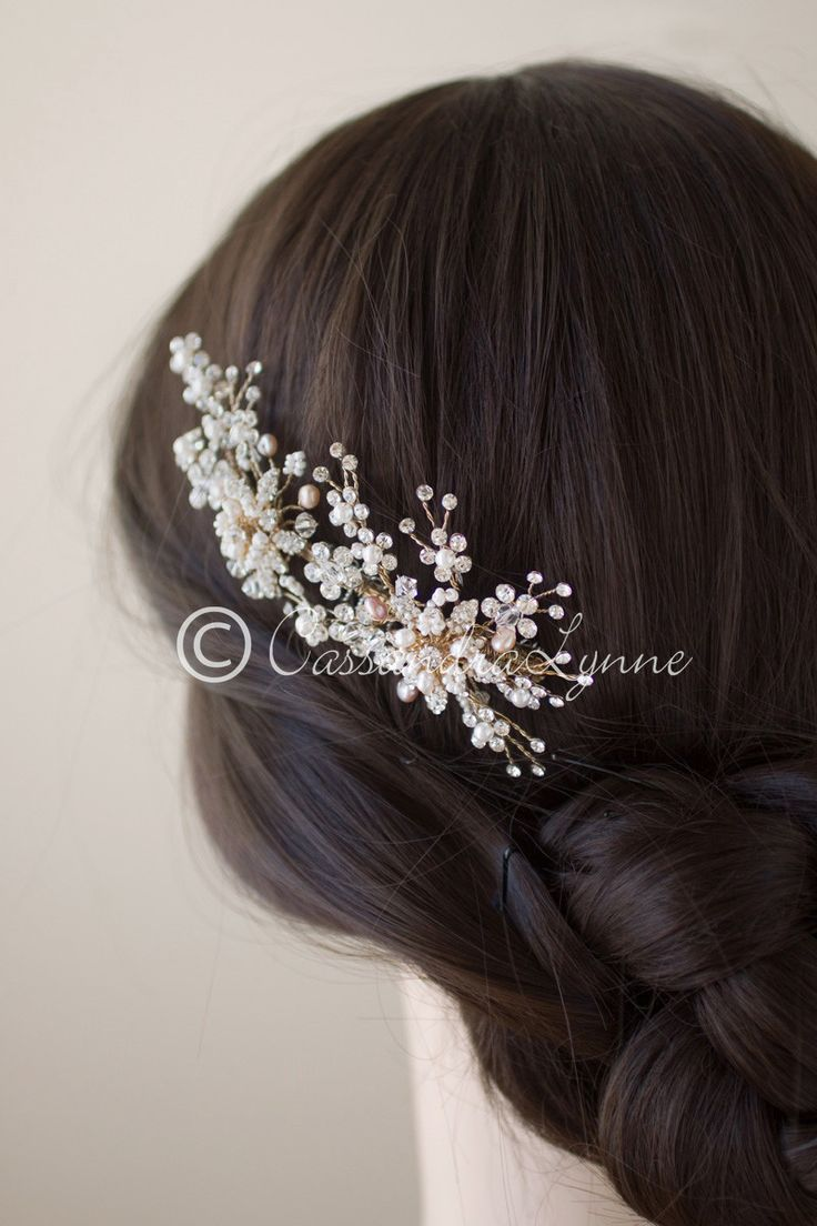 Pink Pearl Wedding Comb with Beaded Flowers in Gold