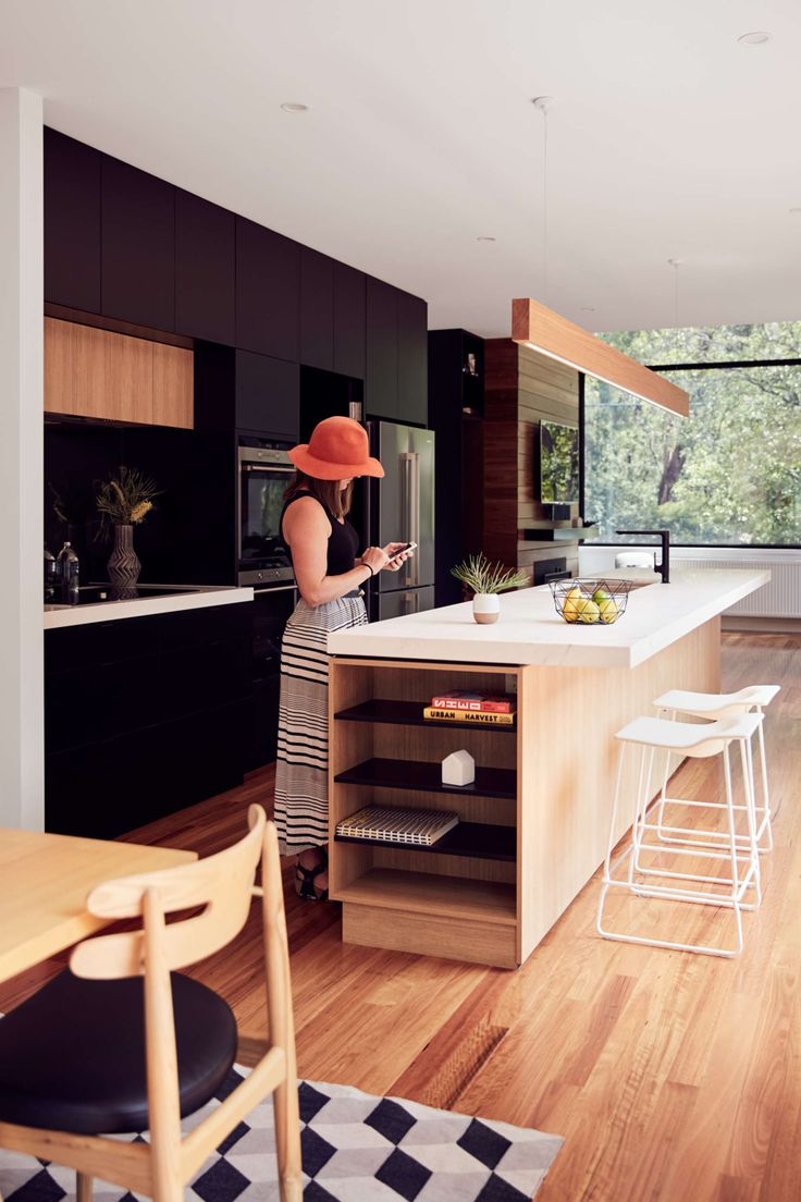 like the dark cabinetry